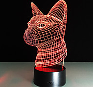New 3D Fashion Led Night Light Cat Head Acrylic Colorful Gradient Atmosphere Lamp Usb Bedroom Table Home Cafe Bar Decor 7Colors