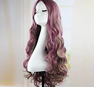 fahion rizado pelo de la onda de la almohadilla púrpura del anime peluca cospaly 70cm peluca sintética largo joven perruque peluca peruca