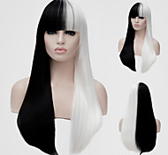 White and black long straight hair and the wind nightclub performances Street color million with a partial wig