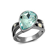 Sea Blue Water Drop Stainless Steel Cocktail Ring High polished (No plating) Women Top Grade Crystal White Opal