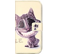 Shockproof / Flip Smiling Cat PU Leather Soft Full Body Wallet Case Cover For Samsung Galaxy C5