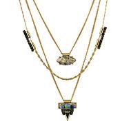 Gold Color Acrylic Pendant Long Necklace