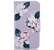 Lily Flower Pattern PU Leather Full Body Case with Stand and Card Slot for Nokia Lumia 650/550