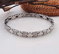 Men's/Women's Circle Silver Stainless Steel Chain Bracelets 1PC