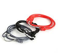 Beadia 1Pc Wax Cord Wrap Bracelet Antique Silver Hope Fish Hook Anchor Charm Bracelet