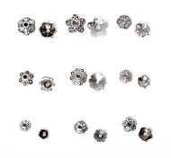Beadia 296Pcs Mixed 9 Style & Sizes Antique Silver Alloy Beads Cap Metal Flower Spacer Beads