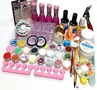 26Pcs Acrylic Powder Glitter UV Gel Cleanser Primer Nail Set Nail Polish 15ML