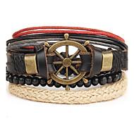 Муж. Кожаные браслеты Панк бижутерия Кожа Сплав Круглой формы Бижутерия Назначение Повседневные