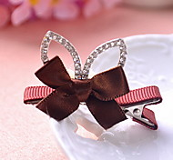 Women's Flower Girl's Fabric Tiaras Bow Hair Clip