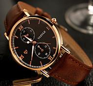 YAZOLE® Men's Dress Watch / Wrist watch Quartz / Genuine Leather Band Casual Black / Brown Brand