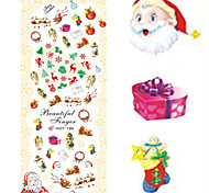 1 pcs Nail Art Water Transfer Christmas Sticker Colorful Happy Christmas Image Nail Decoration HOT195