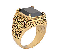 Man's China Wind Totem Ancient Silver Inlay Crystal Resin Personality Trend  Four Claw Diamond Ring