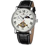 FORSINING Herren Totenkopfuhr Mechanische Uhr Automatikaufzug Transparentes Ziffernblatt Leder Band Luxuriös Schwarz Weiß Schwarz
