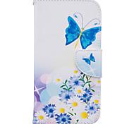 Для Кейс для Motorola Кошелек / Бумажник для карт / со стендом / Флип Кейс для Чехол Кейс для Бабочка Твердый Искусственная кожа Motorola