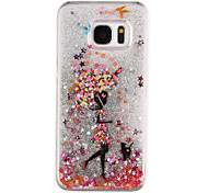 Umbrella Girl Pattern Flowing Quicksand Liquid Glitter Plastic PC For Samsung Galaxy S7 edge Galaxy S7