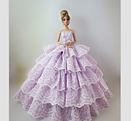 Party/Evening Dresses For Barbie Doll Light Purple Lace Dresses For Girl's Doll Toy
