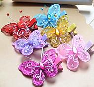 Korean Flower Girl's Fabric Butterfly  Hair Clip