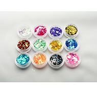 Byfunme 12 color Diamond  Sequin Nail sticker set/Glitter Nail Art Decoration Combination