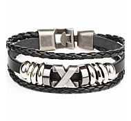 Punk Men's Bracelet PU Leather Bracelet Easy Hook X Shape for Men Fashion Jewelry Christmas Gifts