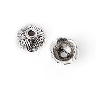22pcs beadia plata antigua granos de la aleación del casquillo de 8x4mm forma de la flor granos del espaciador
