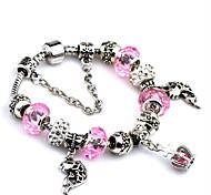 Fashion Bangles For Women 2016 Crystal Diy Stone Bracelet Bead Bracelet Crown Pendant Bracelet Femme-Pink