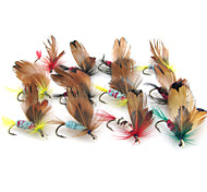 Anmuka 12pcs 1.8cm Butterfly Dry Fly Lures Colorful Feather Hook Various Color Fishing Bait Fishing Tackle