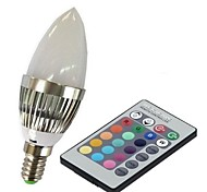 E14 85V-265V 100-230Lm 3W RGB Remote Control LED Colorful Bulbs Candle Light
