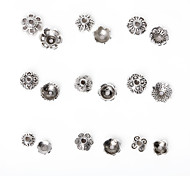 Beadia 297Pcs Mixed 9 Style & Sizes Antique Silver Alloy Beads Cap Metal Flower Spacer Beads