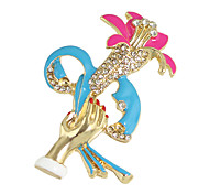 Colorful Enamel Flower Hand Shape Custom Brooch