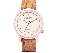 REBIRTH® Men's Fashion Wood Design PU Leather Strap Quartz Wrist Watch Casual Watch Dress Watch