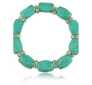 Women Alloy Silver Square Strand Bracelets