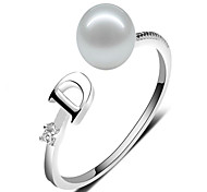 Freshwater pearl S925 silver 7-8mm oblate Qiangguang D ring