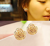 Stud Earrings Fashion Sterling Silver Heart Flower Rose Gold Jewelry For Daily Casual Valentine 1 pair