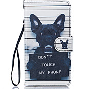 PU Leather Material Black Dog Pattern Painting Pattern  Phone Cases for Samsung Galaxy J510/J5