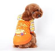 Cat / Dog Hoodie Orange / Blue Dog Clothes Winter / Spring/Fall Plaid/Check Holiday / Fashion