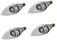 3 E14 Ampoules Bougies LED C35 1 LED Haute Puissance 200-240 lm RVB Décorative AC 100-240 / AC 110-130 / AC 85-265 V 4 pièces