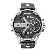 Masculino Relógio de Moda Quartz Calendário / Dois Fusos Horários Lega Banda Casual Preta / Marrom marca