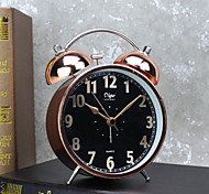 Alarm Clock with Matel Case Silent Movment Black Color Night Light