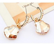 Earring Crystal Oval Drop Earrings Jewelry Women Fashion Casual Alloy 1 pair Gold Other
