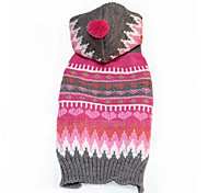 Dog Sweater Pink Dog Clothes Winter Stripe Keep Warm