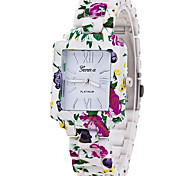 Women's Cool Quartz Fashion Casual Watch Multi-colored Flowers Belt Personality Square Dial Watch Unique Watch