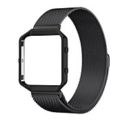 Rugged Metal Frame Housing with Magnet Lock Milanese Loop Stainless Steel Bracelet Strap Band for Fitbit Blaze