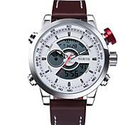 Masculino Relógio Esportivo Digital Quartzo Japonês LED Calendário Impermeável alarme Luminoso Couro Banda Pendente PretaPreto/Vermelho