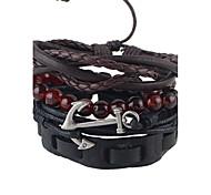 Multilayers Beads Chain Pu Leather Wrap Bracelets Set