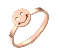 Women's Fashion Lovely Smiling Face  Stainless Steel Rose Gold Plated Band Rings(1Pc)