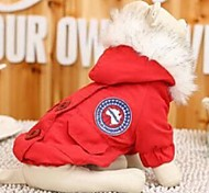 Dog Coat / Hoodie Red / Blue / Dark Blue Dog Clothes Winter / Spring/Fall Solid Fashion / Keep Warm