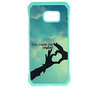 Finger Heart Pattern Metal Plate Inlay TPU Back Case For Samsung Galaxy S7 S7E S6 S6E S6 edge plus S5