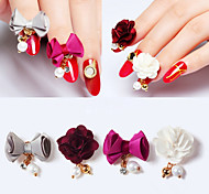 4PCS  Fabrics Rhinestone Bowknot Flower Rear  Magnet  Nail Art Decoration