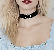 Women's Choker Necklaces Tattoo Choker Statement Necklaces Simulated Diamond Alloy HeartTattoo Style Fashion Statement Jewelry Simple