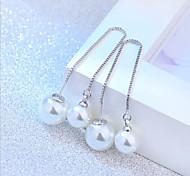 S925 silver long tassel Pearl Earrings